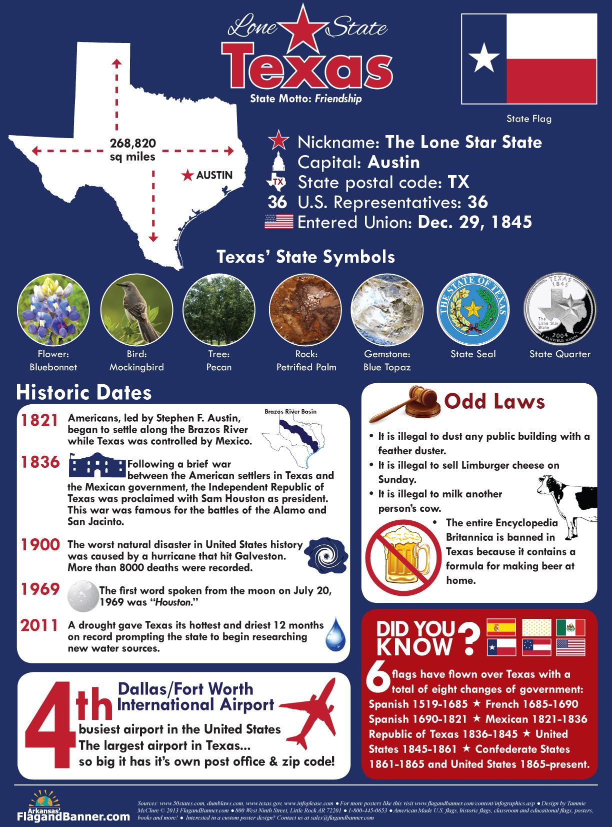 Infographic with lots of information about the Lone Star
