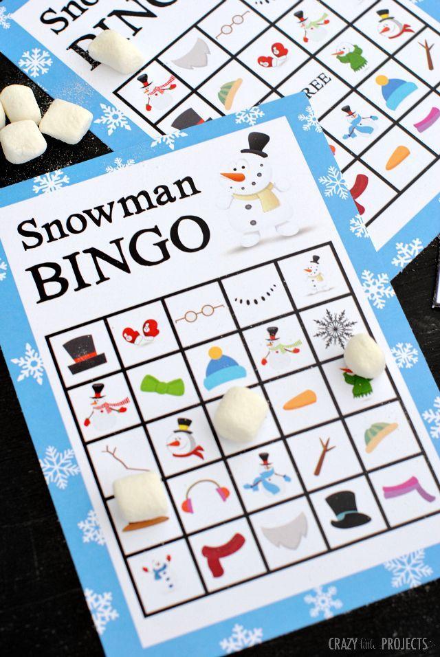 Printable Snowman Bingo Game Bingo Games Snowman And Amber
