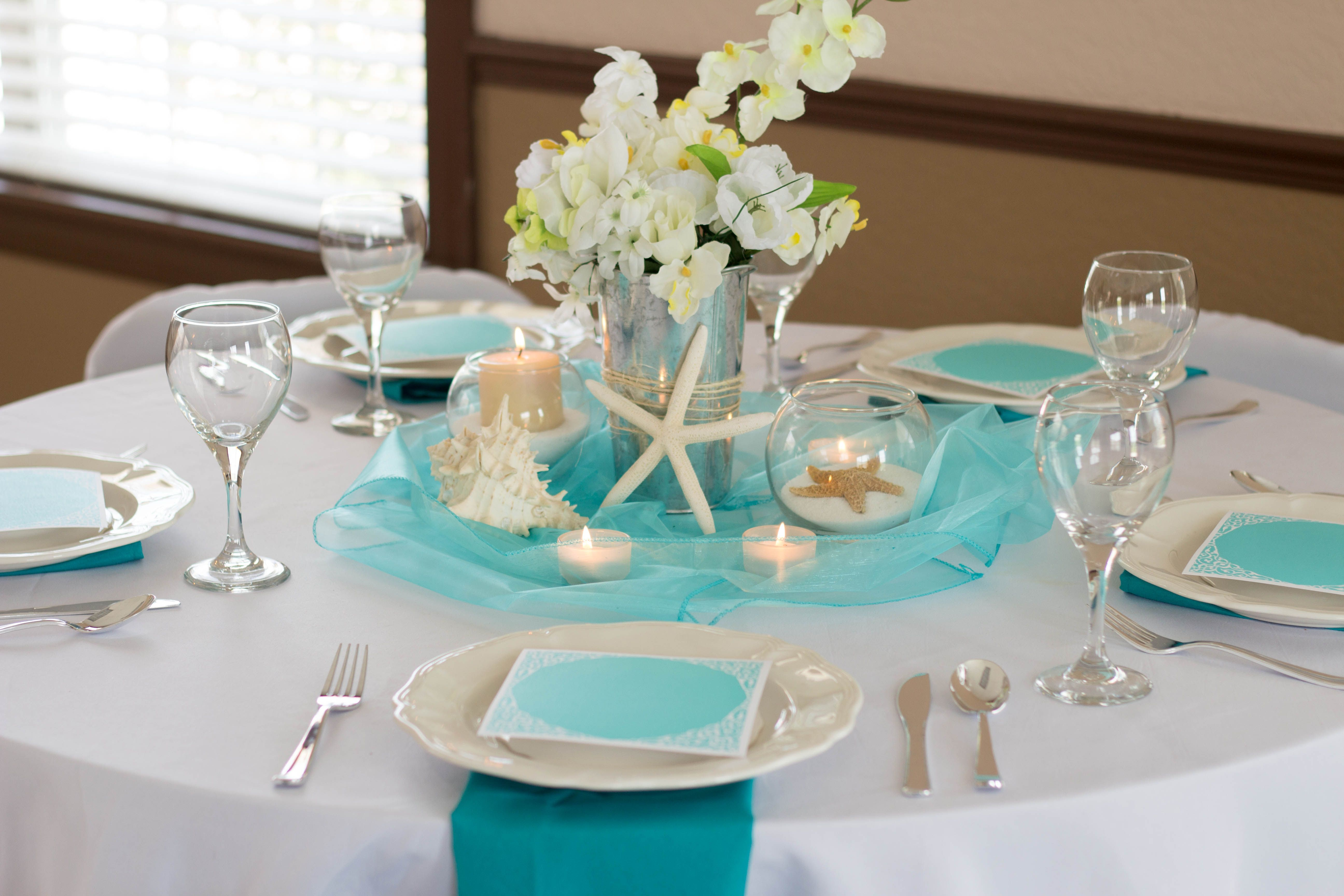 Beach Bliss Wedding Reception Table, Blue, Turquoise