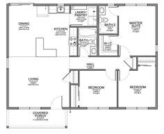 Floor Plan For Affordable 1 100 Sf House With 3 Bedrooms And 2 Bathrooms Efficient Layout
