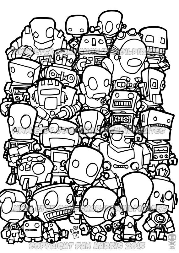 Robot Colouring Page Adult colouring book page by