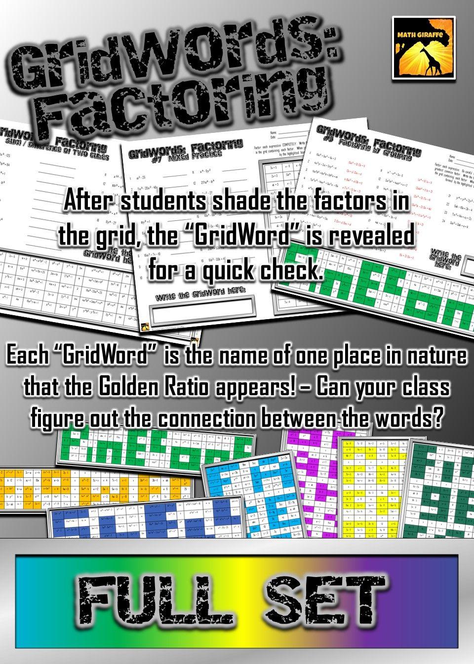 """Factoring Polynomials """"GridWords"""" FULL SET Students"""