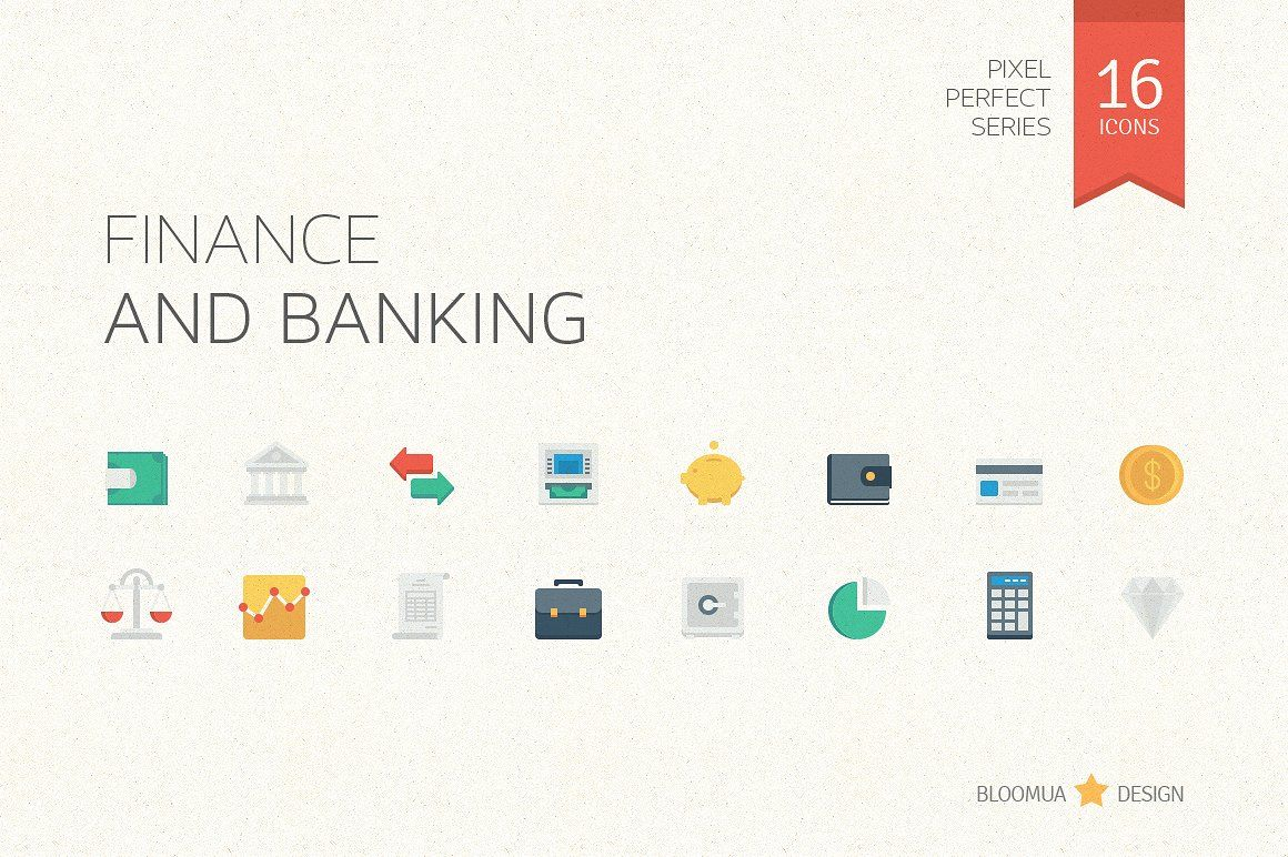 cool Finance & Banking Flat Icons bank banking business