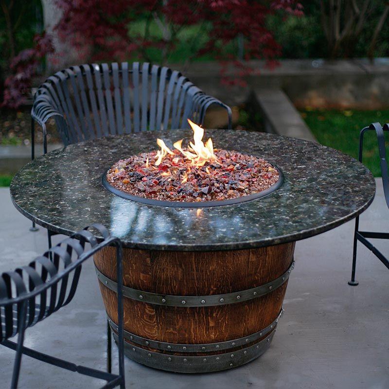 The Reserve Wine Barrel Fire Pit Table Fireglass, Fire