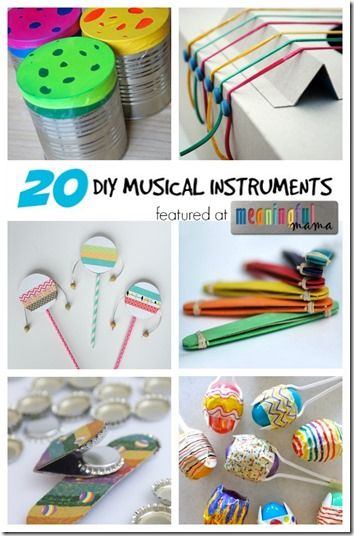 20 Homemade Musical Instruments – So many cute and creative musical instruments kids can make and play with. I can see Toddler,