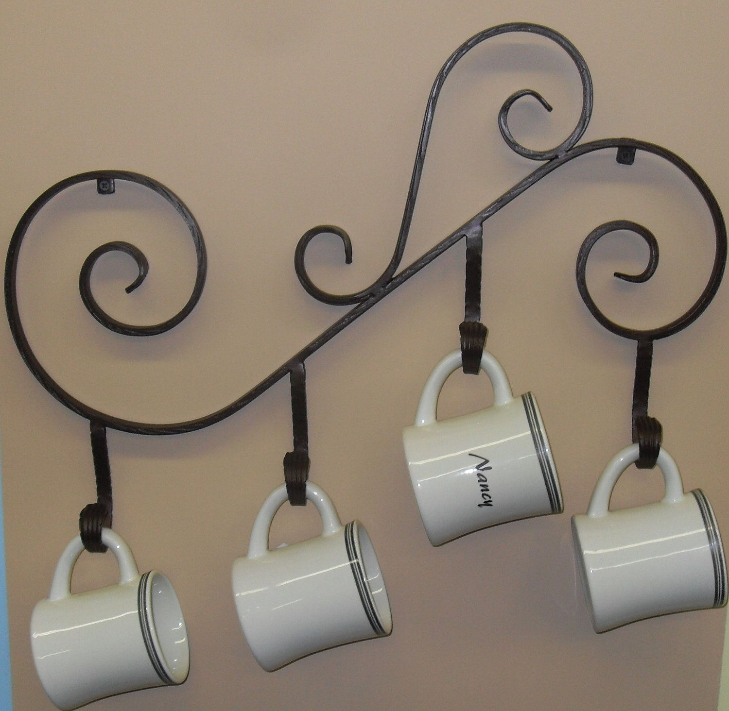 Coffee Mug Holder, Wall Mounted made out of Wrought Iron