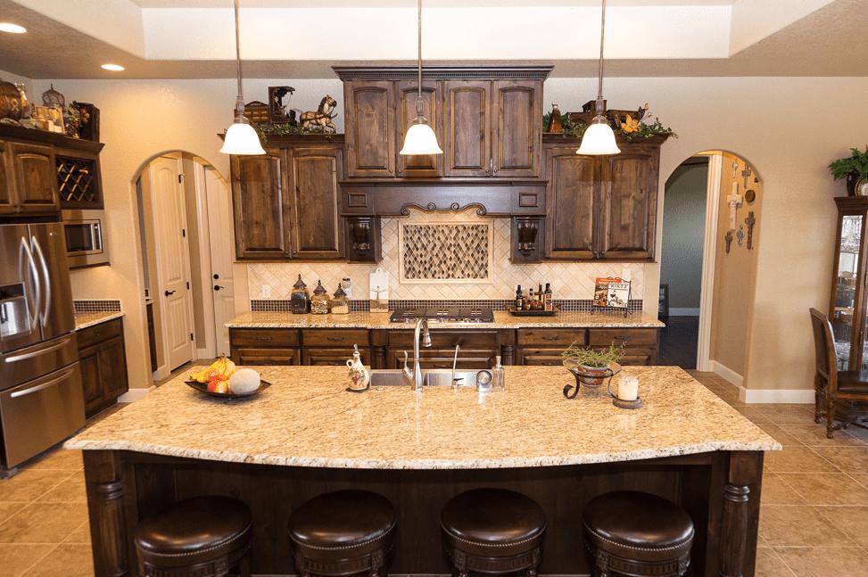 Ornamental Granite Countertops Kitchen Large Island