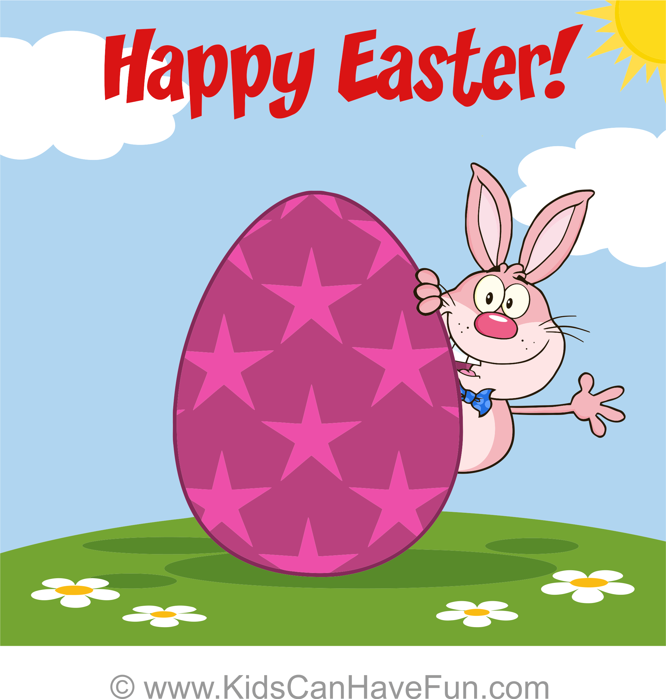 Free Happy Easter Bunny And Egg Greeting Card 2 Blank