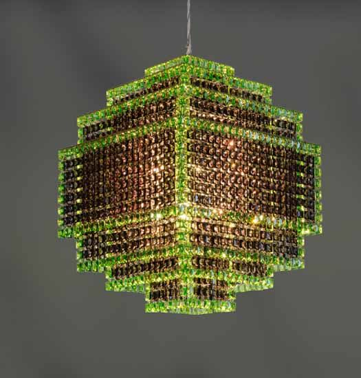 Ceiling Light Made Of Green Crystals