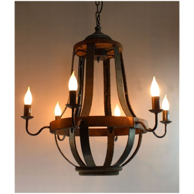 579 Iron Strap And Aged Wood Chandelier French Country Vintage Style