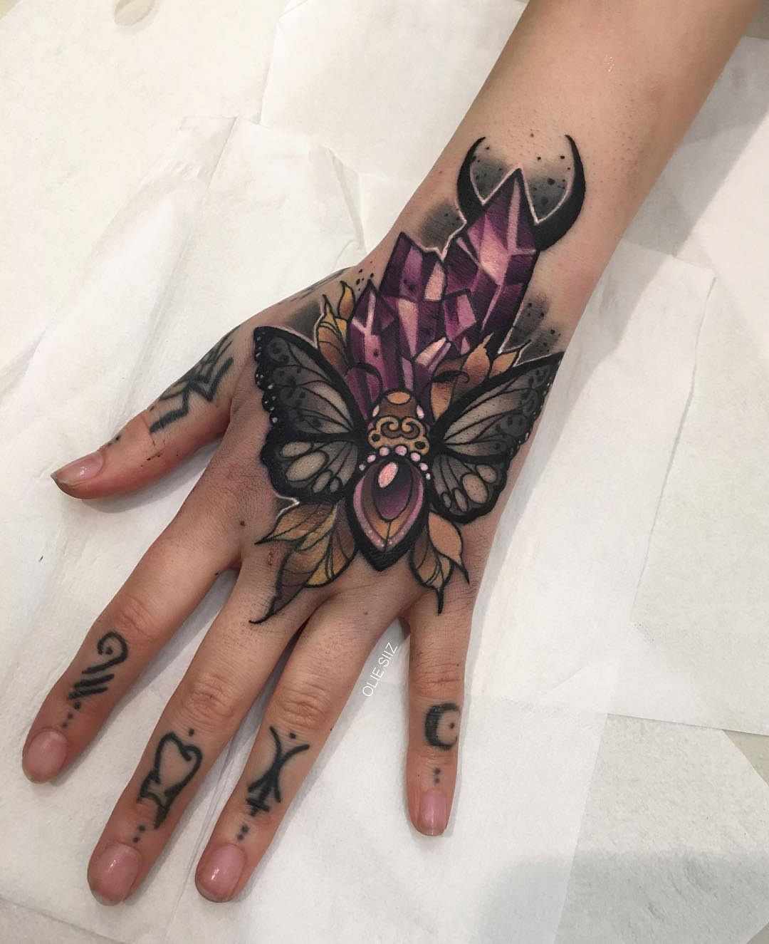 Moth & Crystals, Girls Hand Tattoo Best tattoo ideas