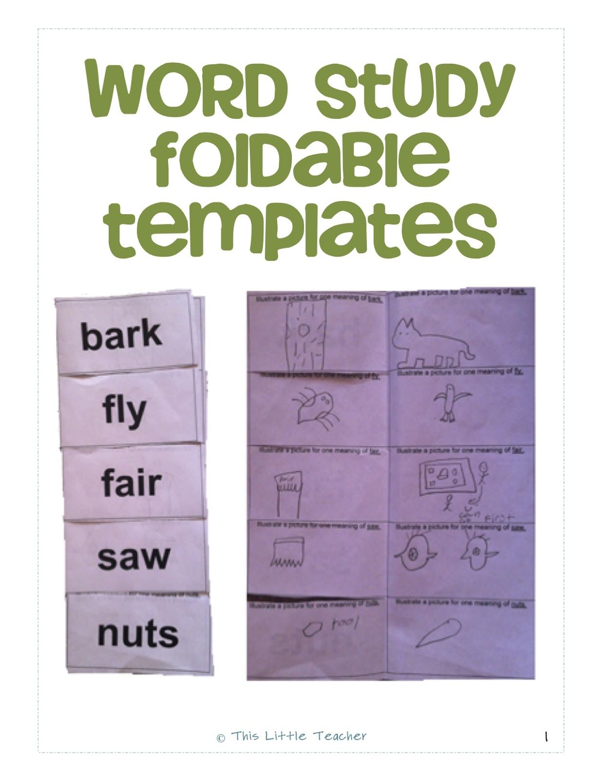 Word Study Foldable Templates