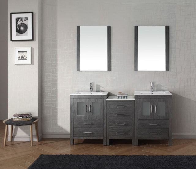 "Dior 66"" Double Bathroom Vanity Set in Zebra Grey"