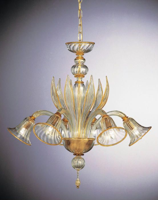 Amber And Gold Bell Shaped Chandelier