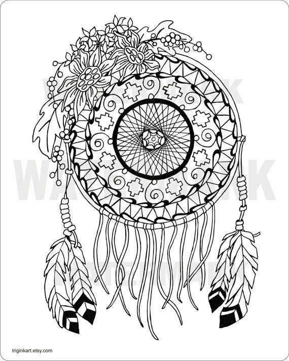 sunflower dream catcher adult coloring pagetriginkart