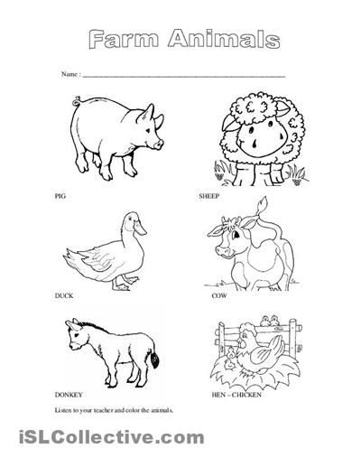 animals on the farm worksheets for kindergarten Google