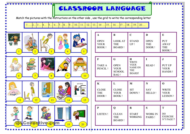 Classroom Language For Beginners Esl Printable Worksheet
