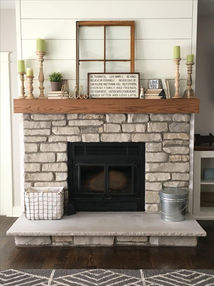 Natural Lannon Stone Fireplace Shiplap Farmhouse