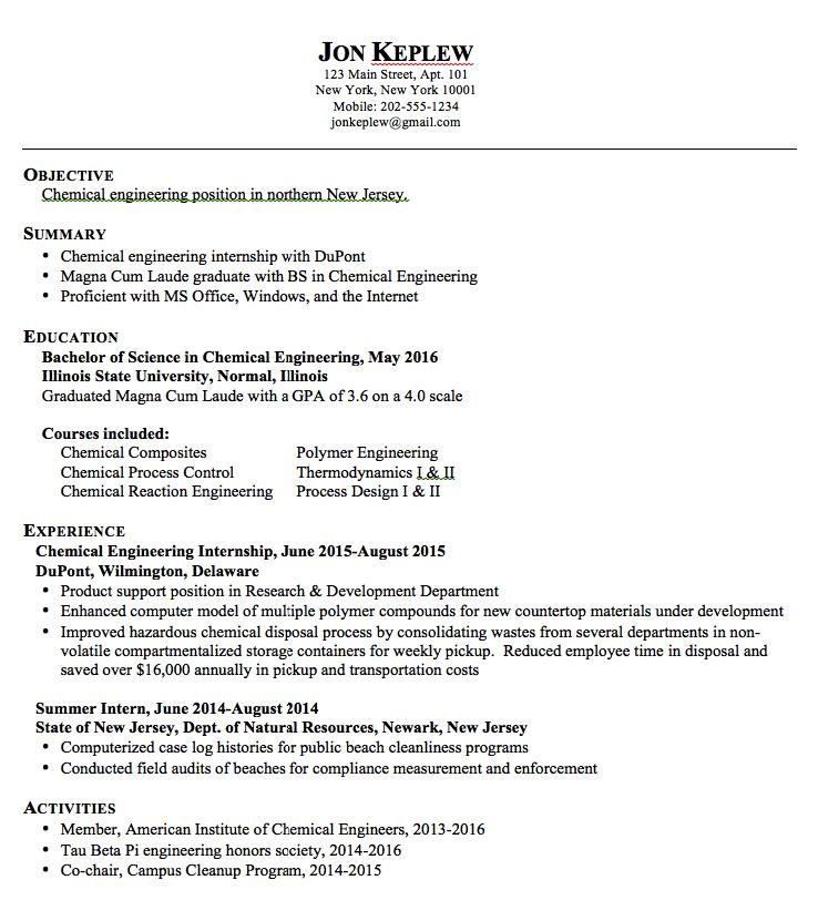 Sample resume chemical engineering http