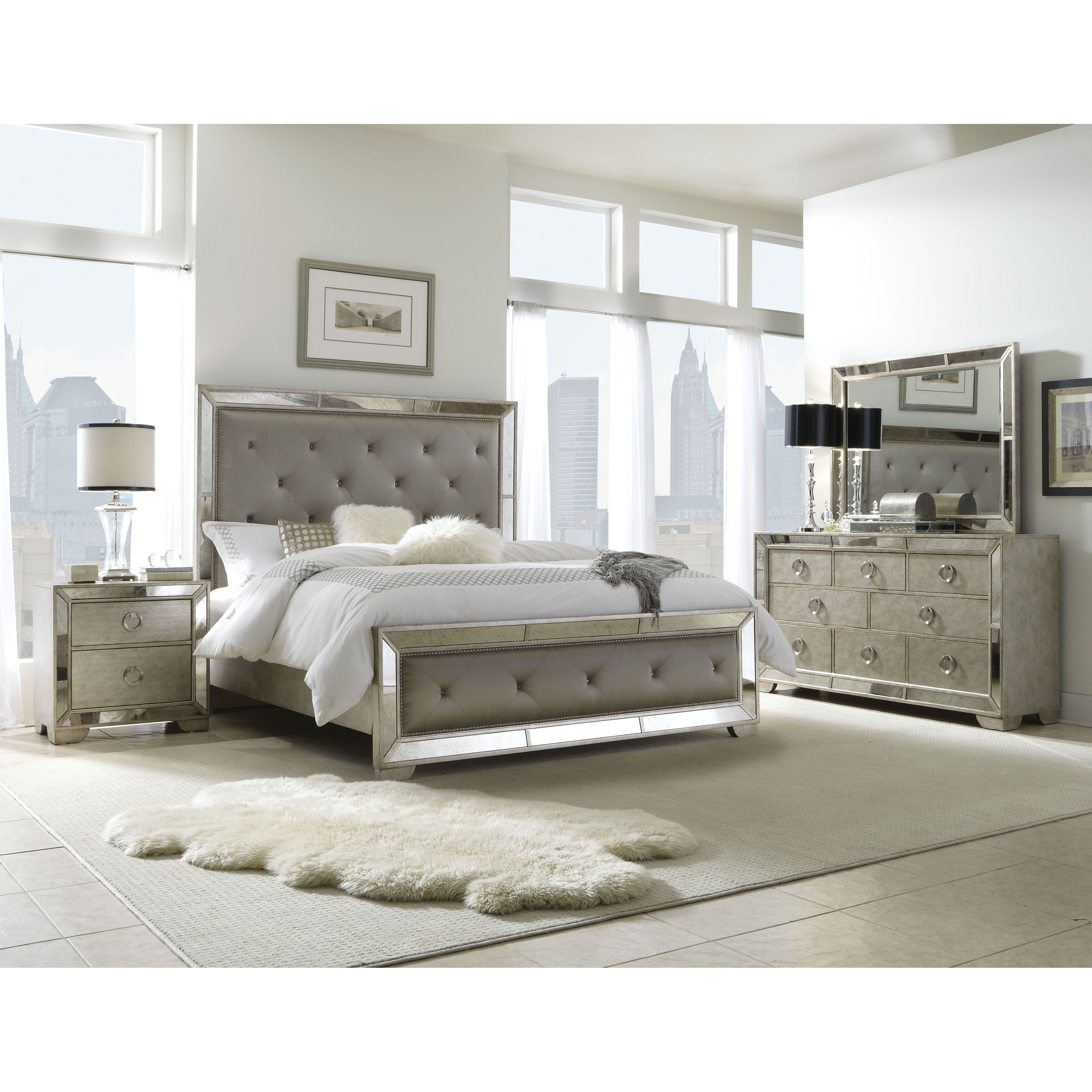 Celine 5 Piece Mirrored And Upholstered Tufted King Size
