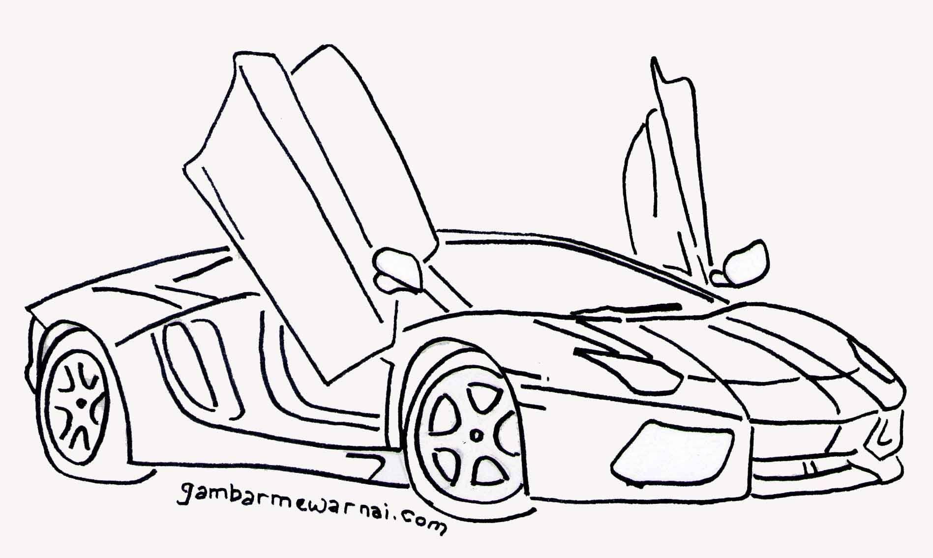 Download Gambar Mewarnai Mobil Keren d Pinterest