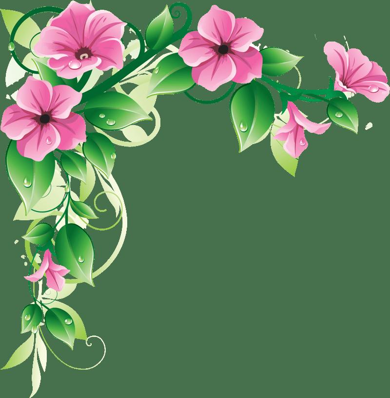 Cartoon Flowers Clip Art Pink Flower Border Clip Art