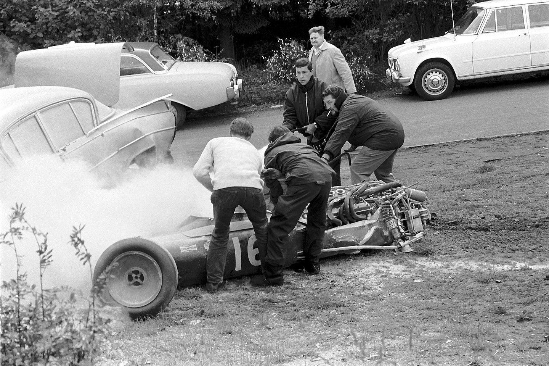 Brian Redman's crashed Cooper T86B. Redman would have been