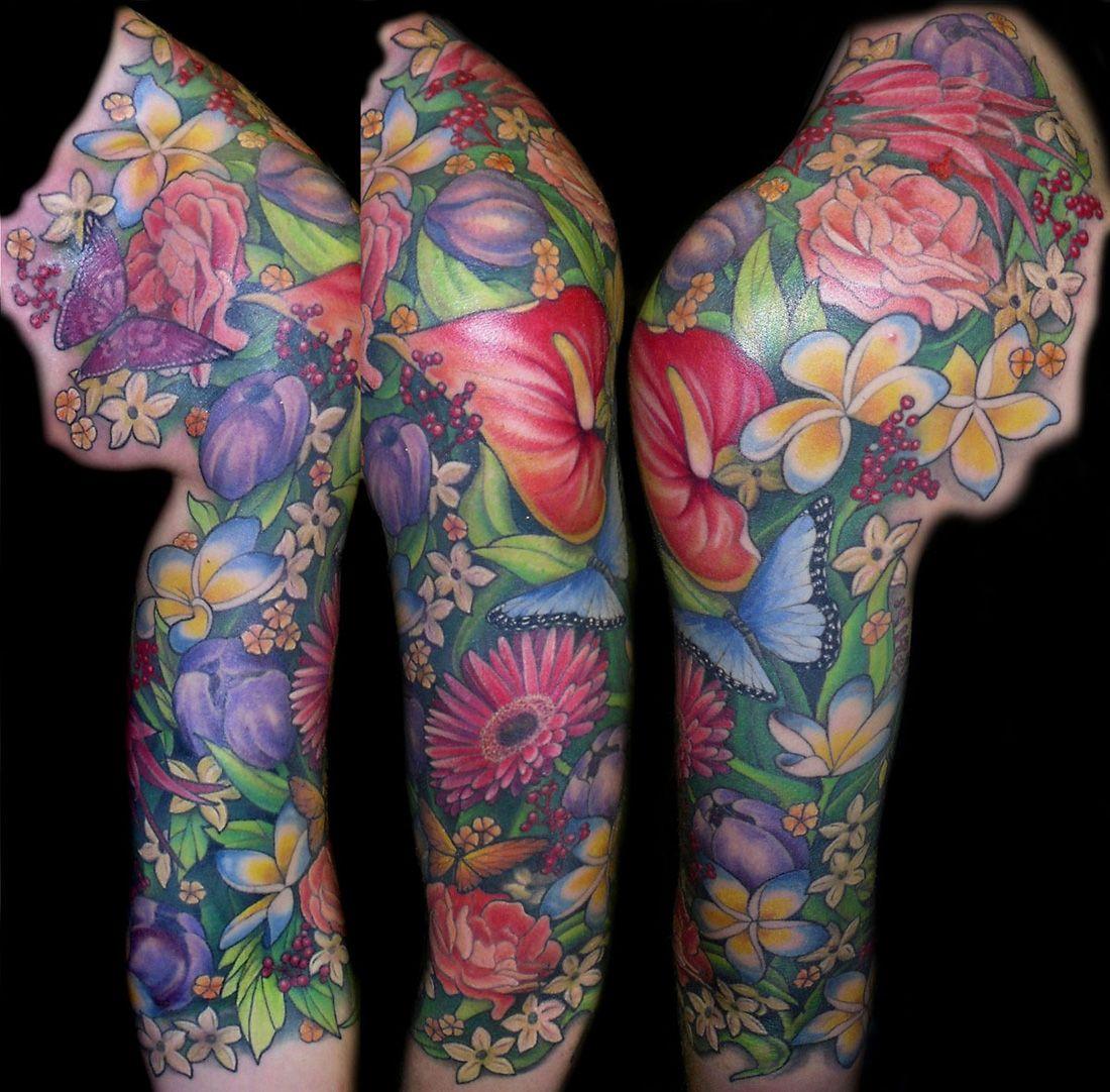 Feminine+Half+Sleeve+Tattoos Sleeve Tattoos Flower