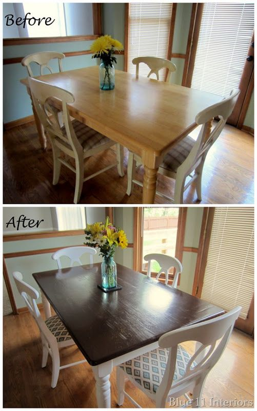 Dining Table Makeover Before And After Dark Top With