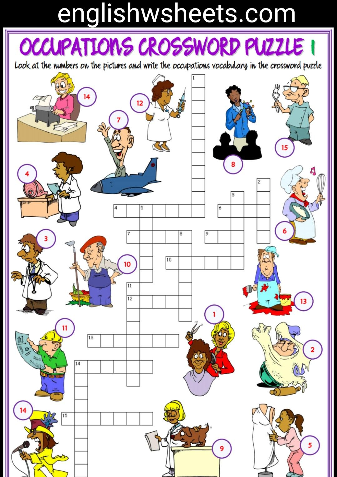 Jobs Esl Printable Crossword Puzzle Worksheets For Kids