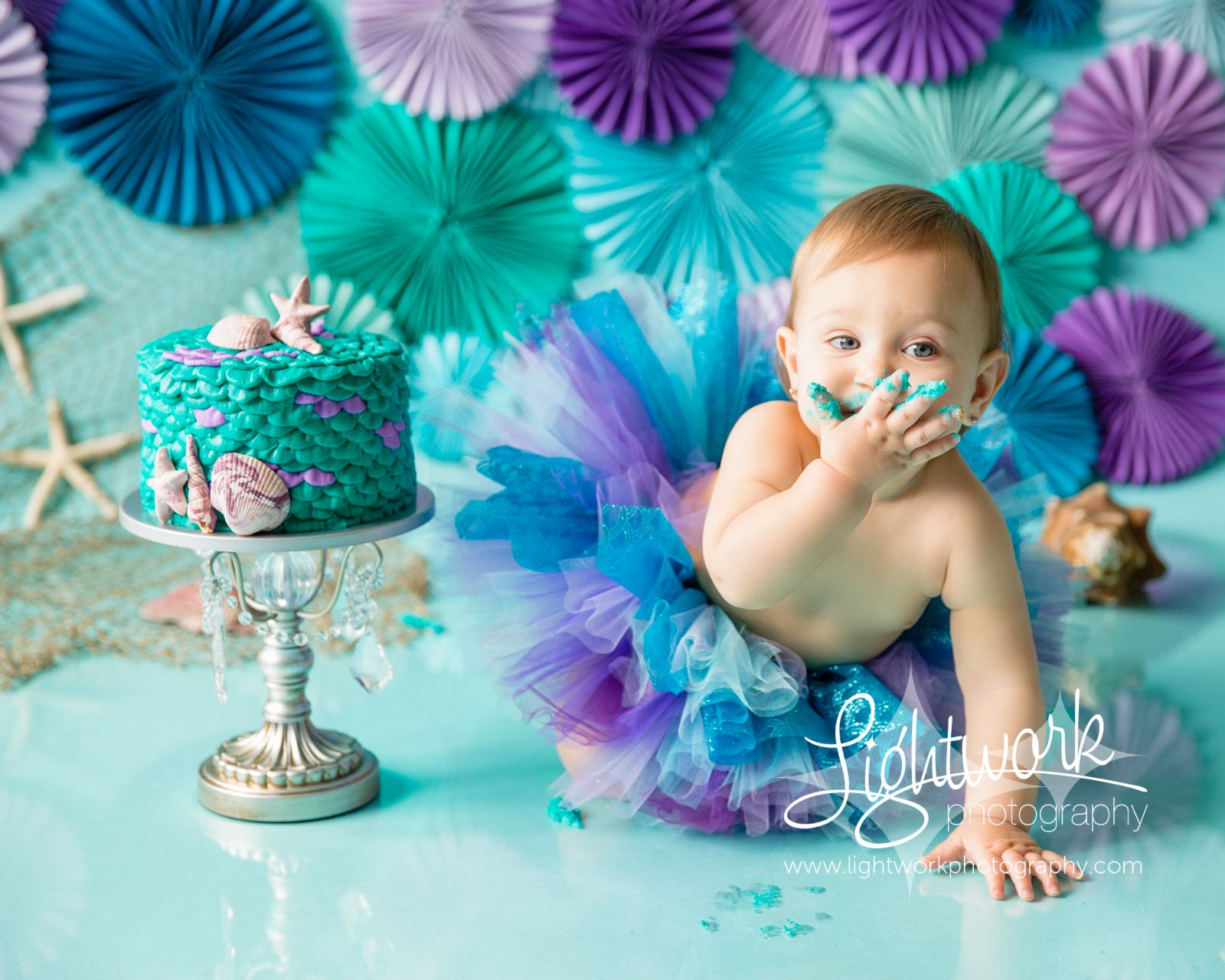 Mermaid 1st Birthday Cake Smash Photo Custom Cake Tutu