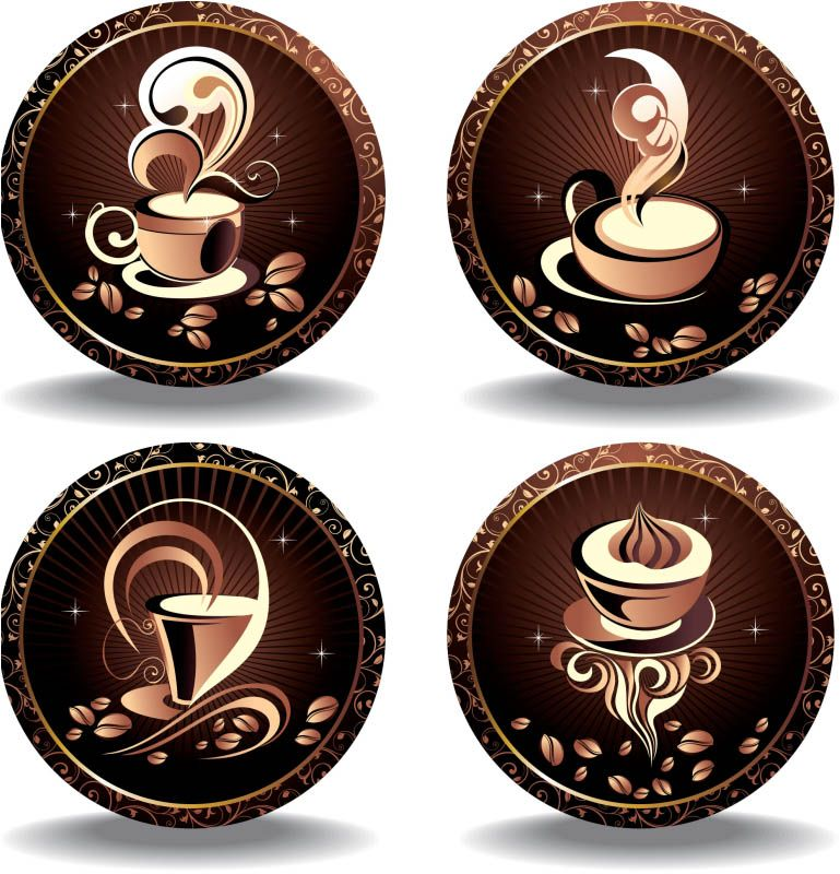 Set of 4 vector elegant coffee labels decorated with