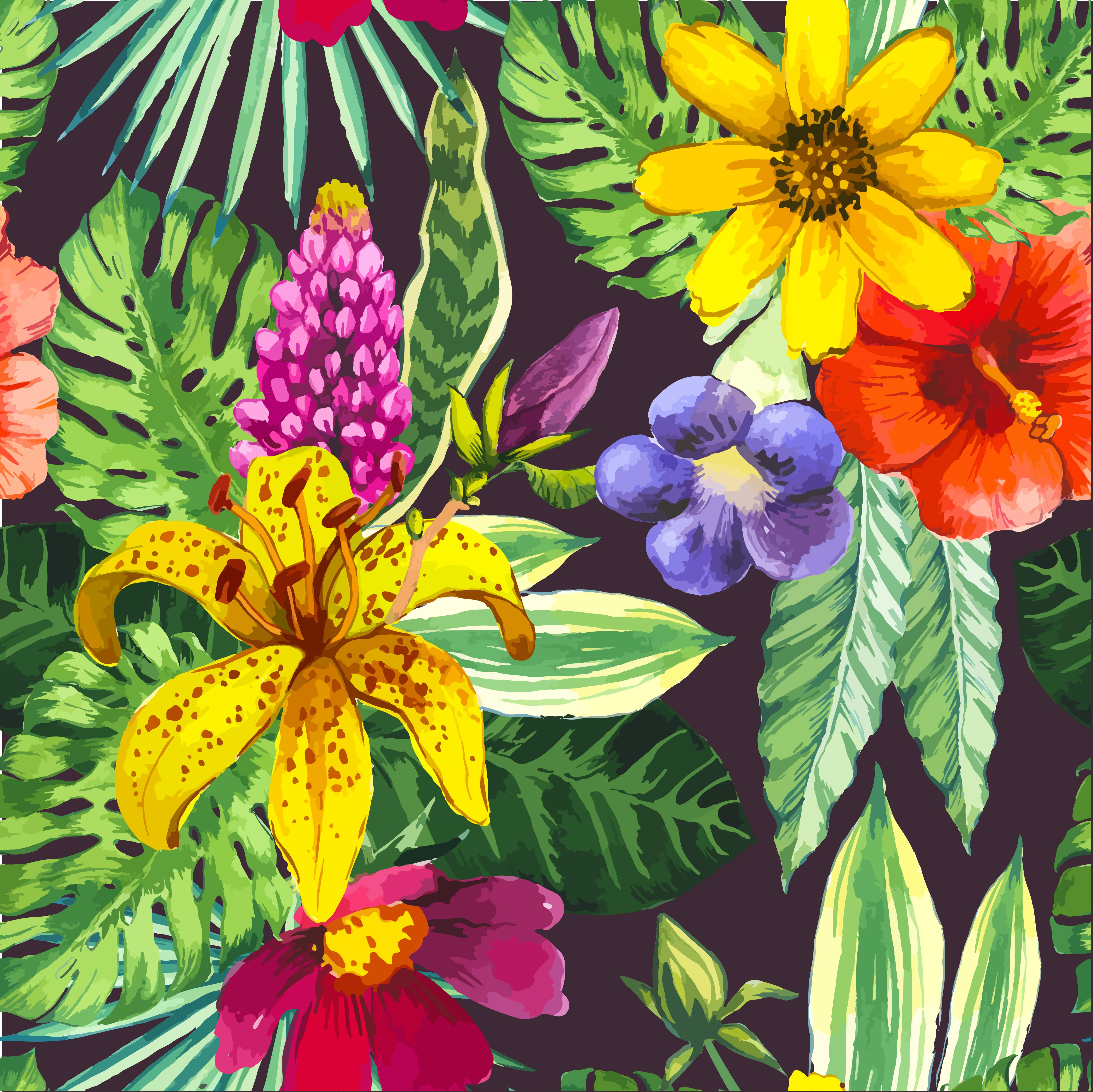 Vector illustration with watercolor flowers. Beautiful