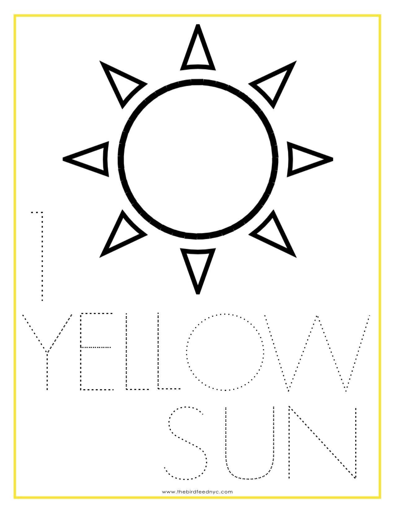 Numbers Coloring Sheet 1 Yellow Sun Kids