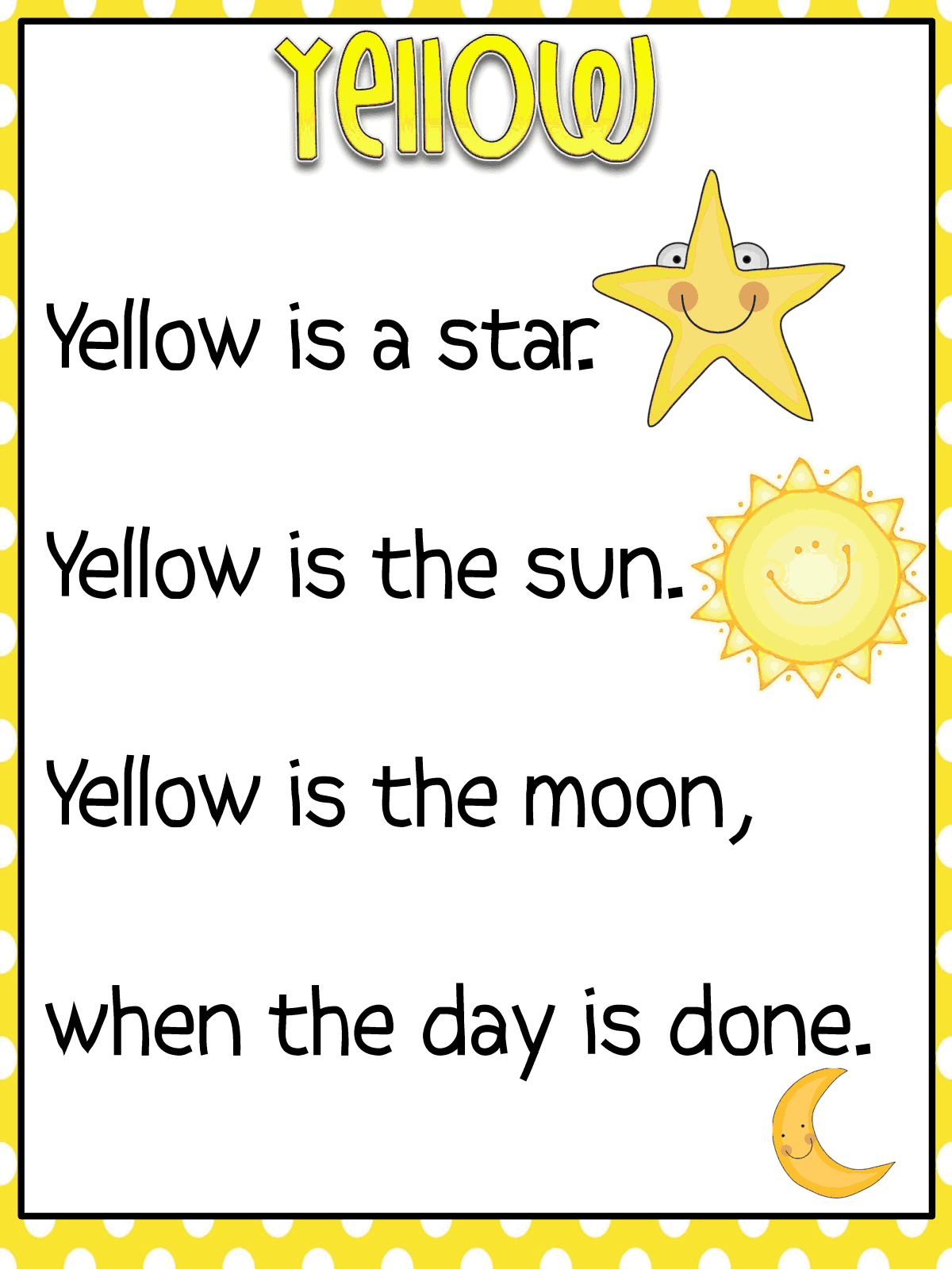 Color Word Poems Printable Posters