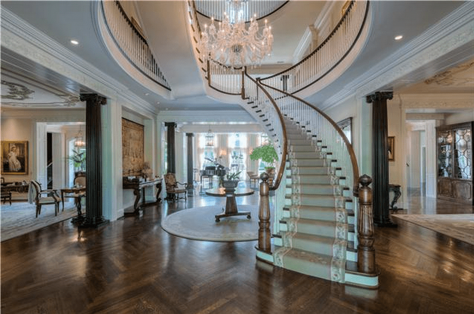 Stunning stairway & entryway at the Nashville mansion. If