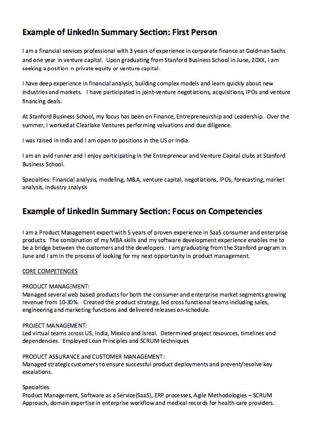 linkedIn Summary Resume Example