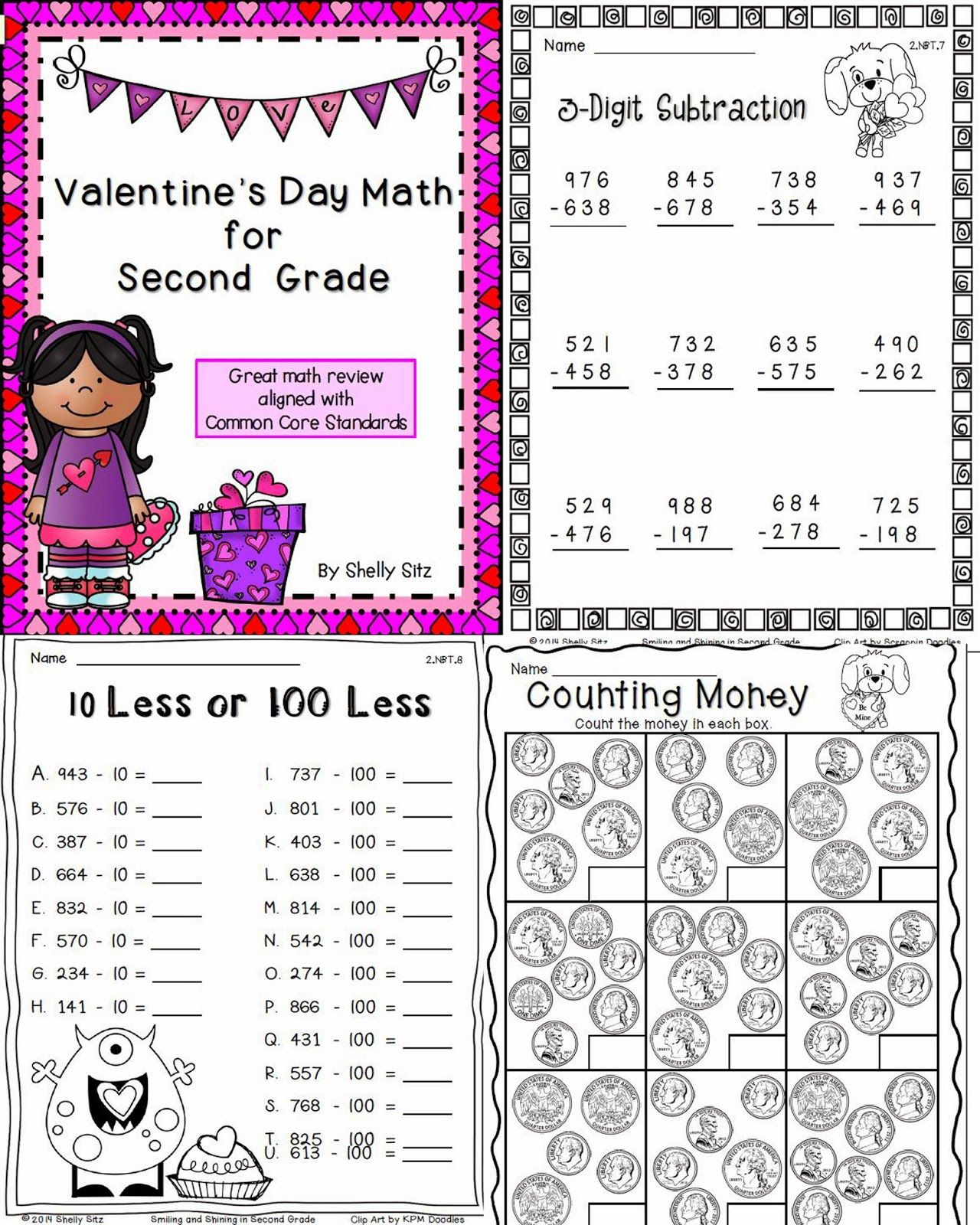 Smiling And Shining In Second Grade Valentine S Math For Second Grade