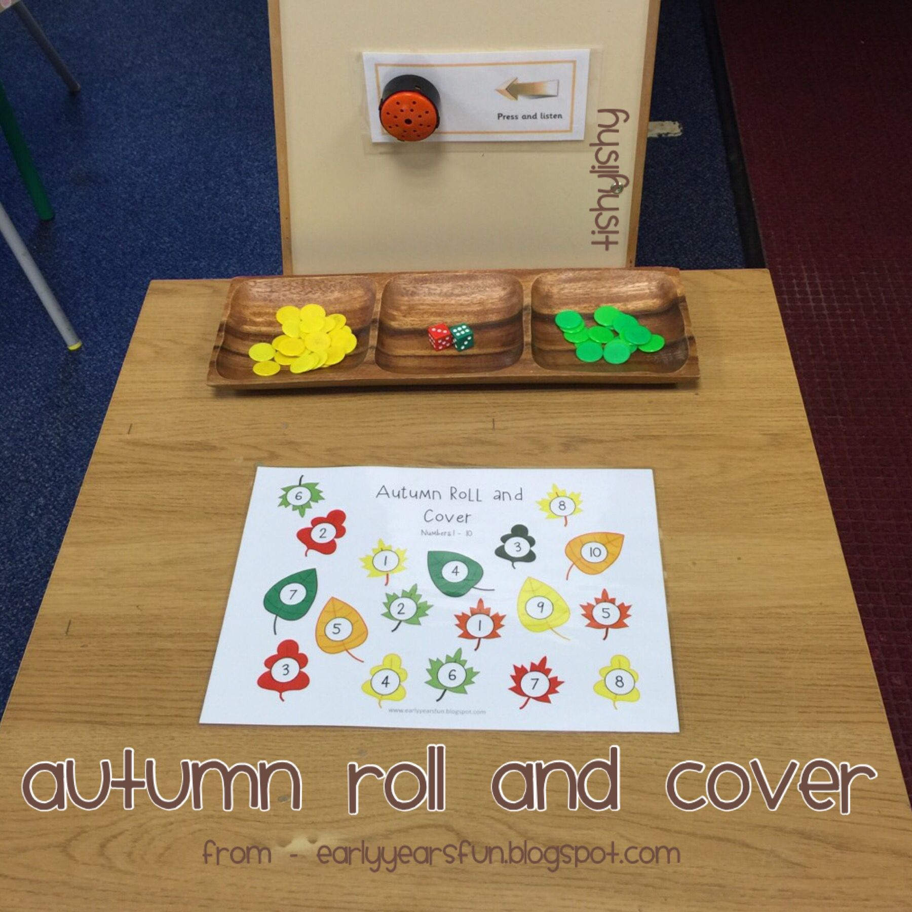 Autumn Roll And Write Game From Earlyyearsfunspot