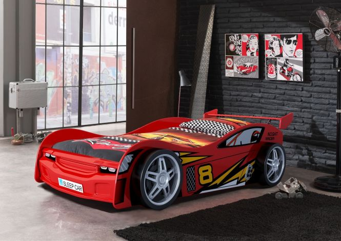 Night Racer Kids Car Bed With Racing Themed Linen And Garage Style Décor Available At Forty Winks