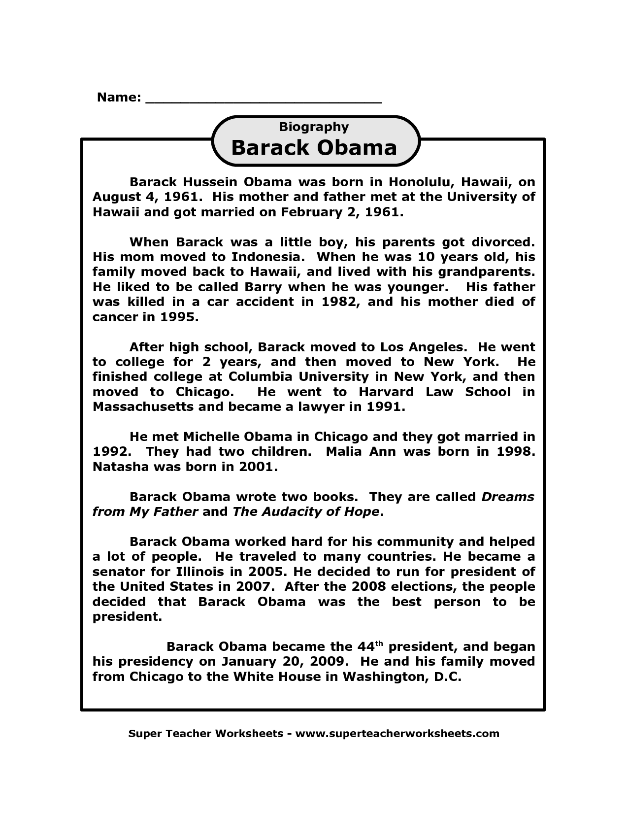 Barak Obama Worksheet