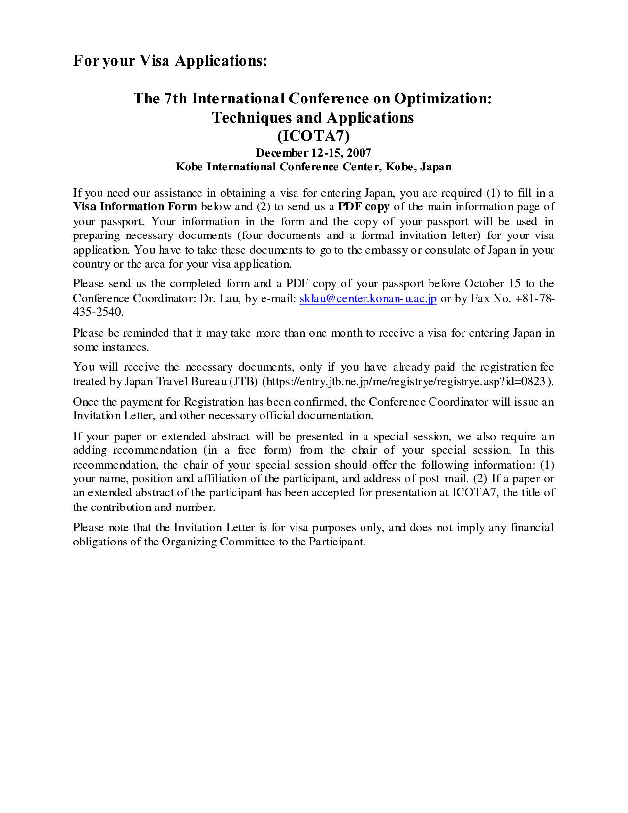 Free Formal Visa InvitationVisa Invitation Letter
