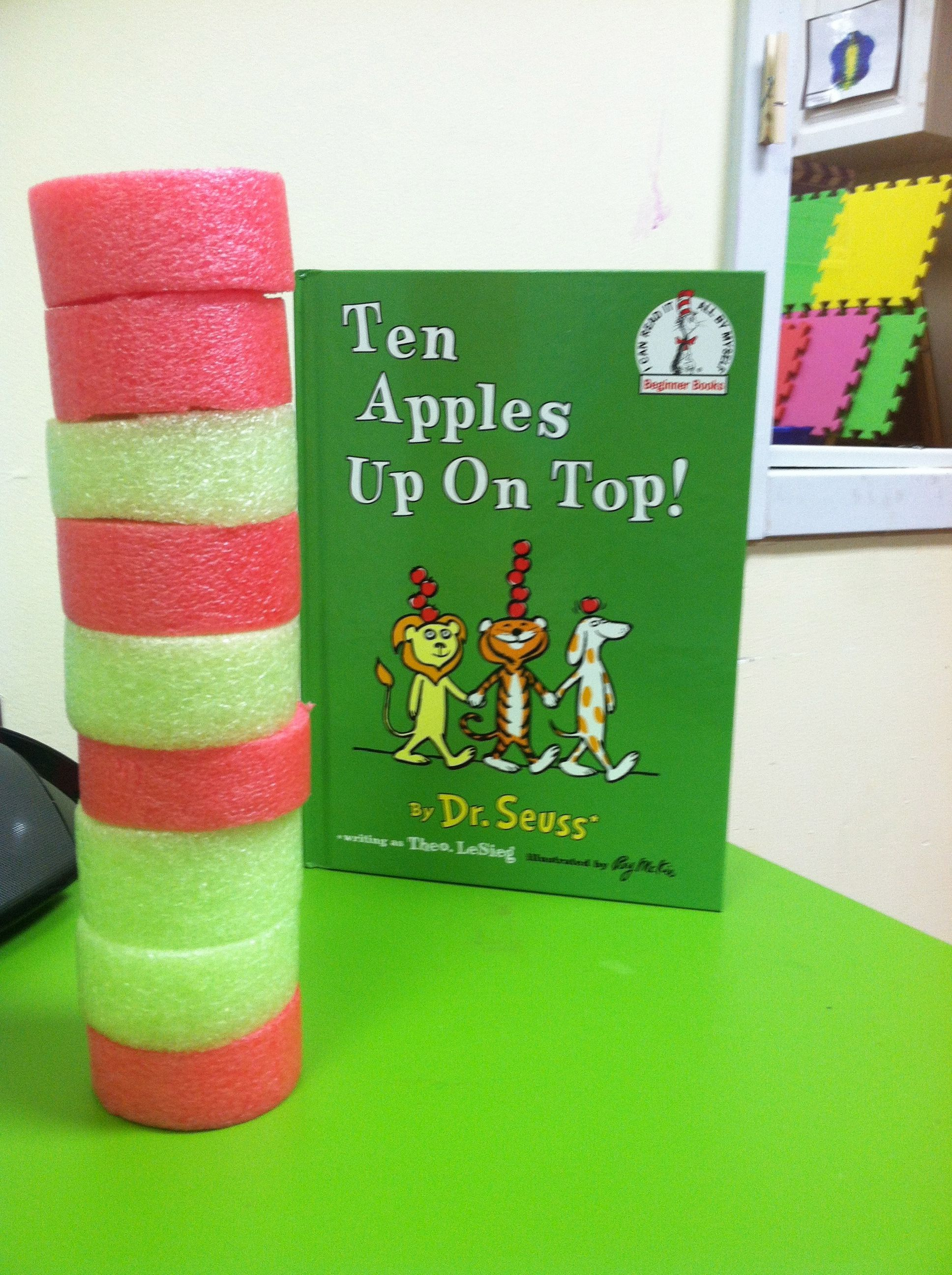 My Two Year Old Preschoolers Loved Stacking Cut Red And Green Pool Noodles Pretending Them To