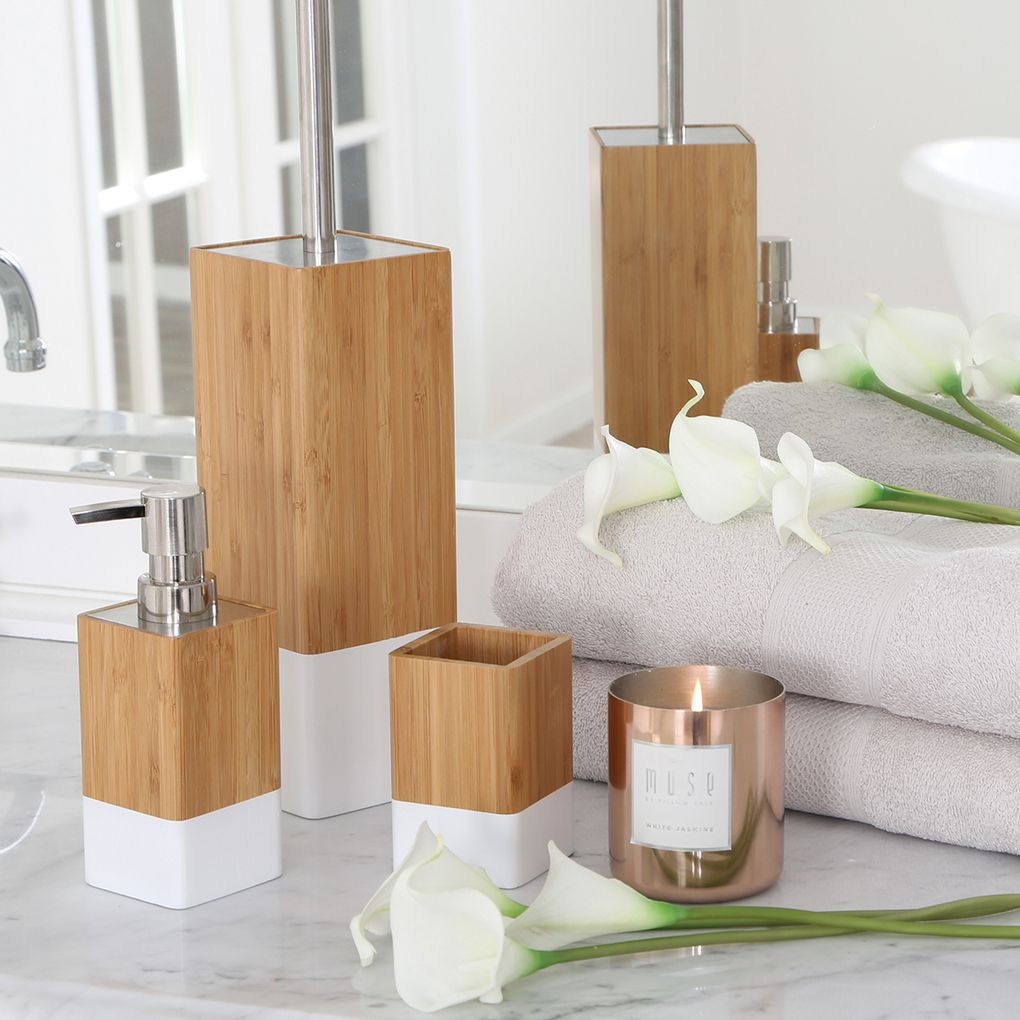 dipped bamboo white bathroom accessories | pillow talk | house