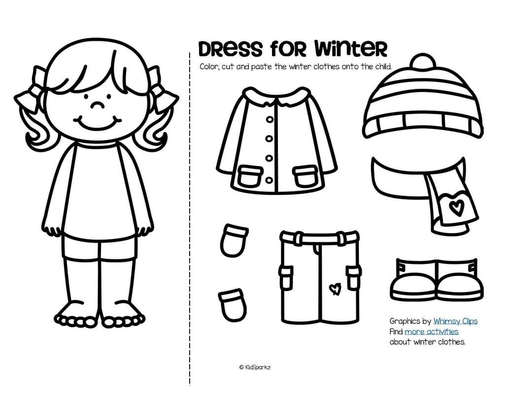 Color Cut And Paste To Dress A Boy And A Girl For Winter