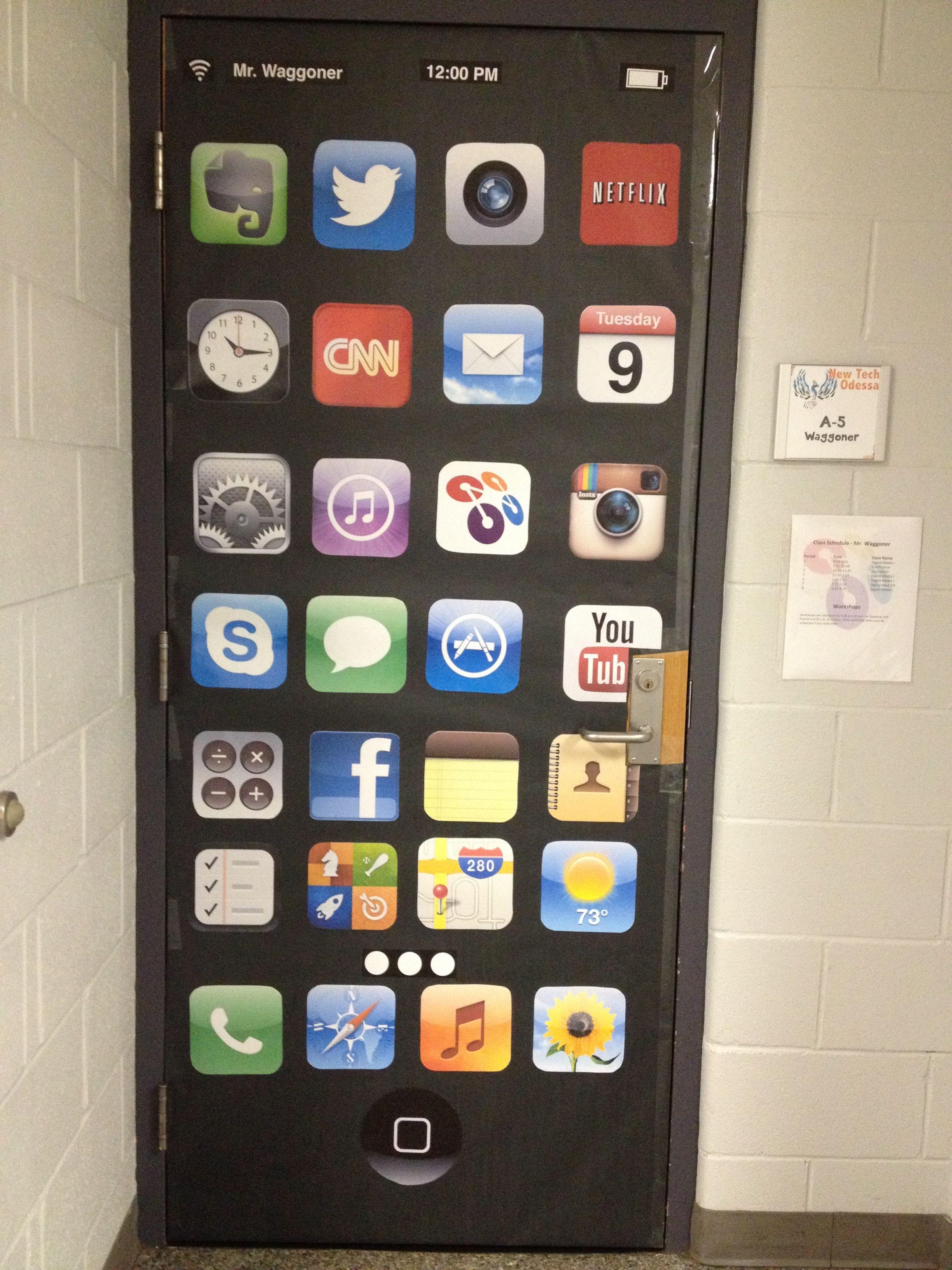 Door decor for technology classroom at an Apple