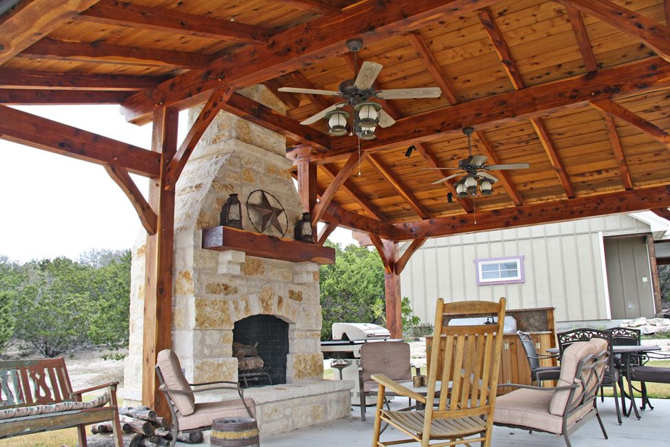 Outdoor Living with Fireplace using Cedar Timber Framing