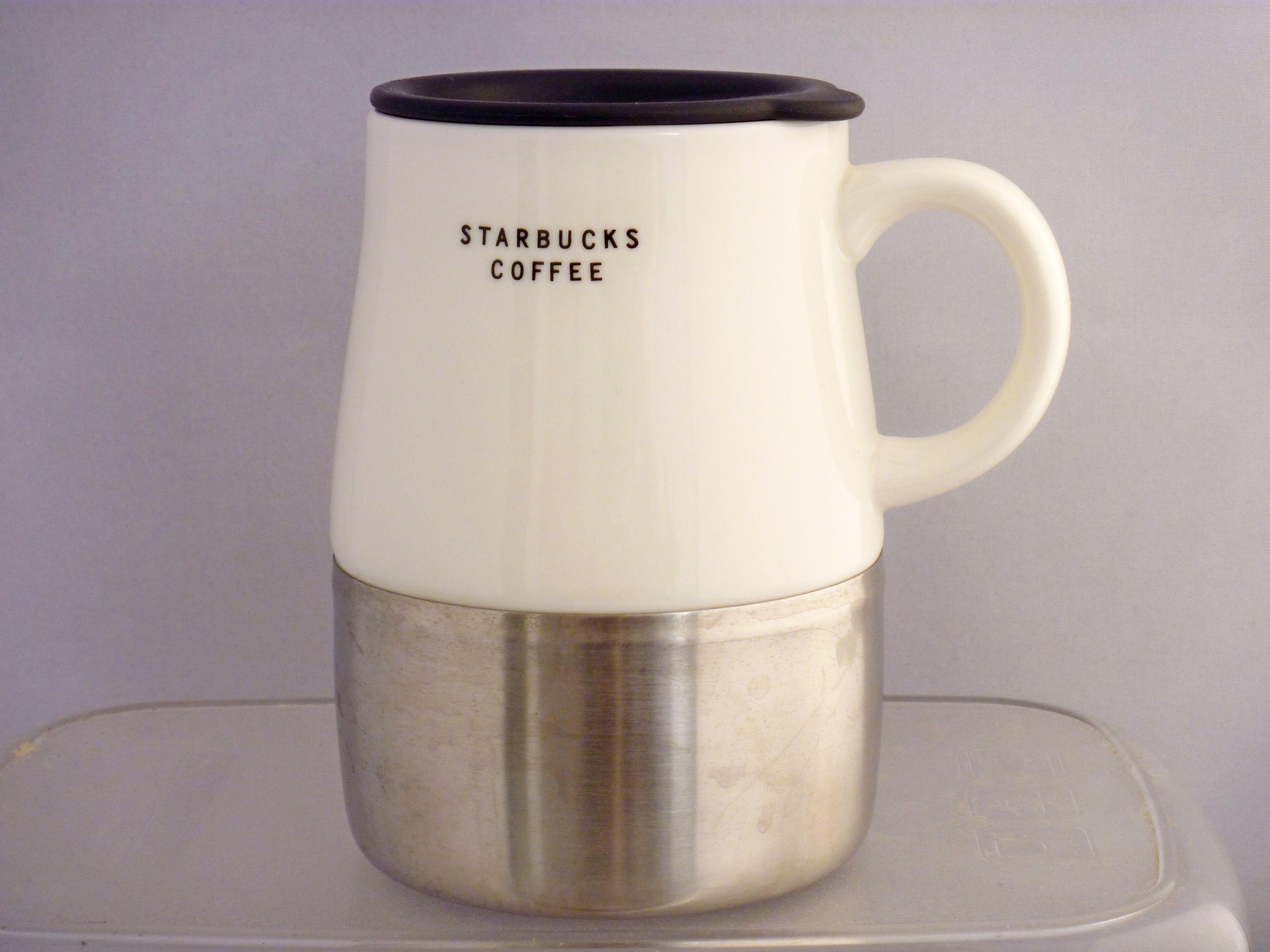2004 Starbucks Urban, White Ceramic Stainless Steel Base