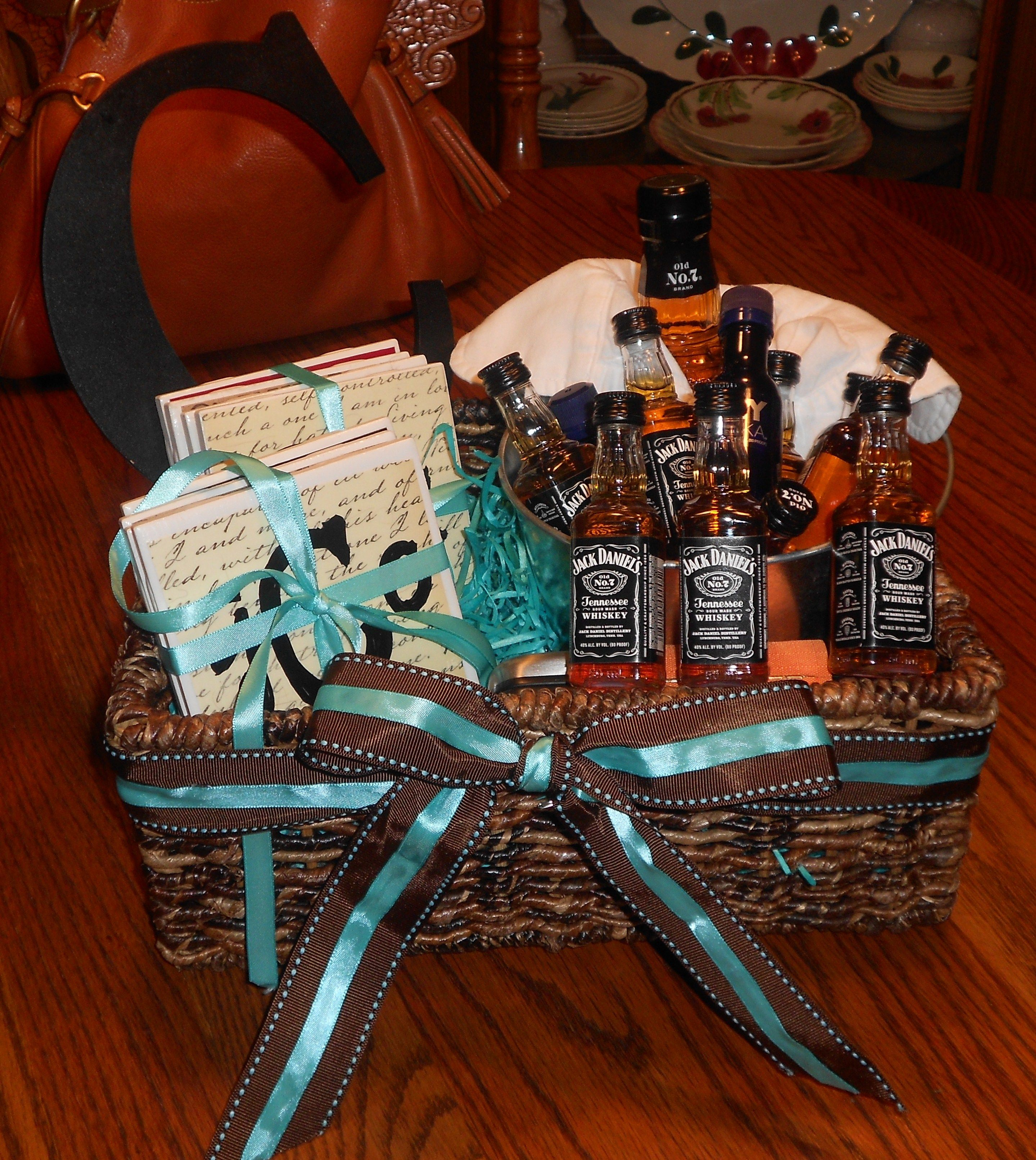 Whiskey Gift basket for Cole! Complete with homemade