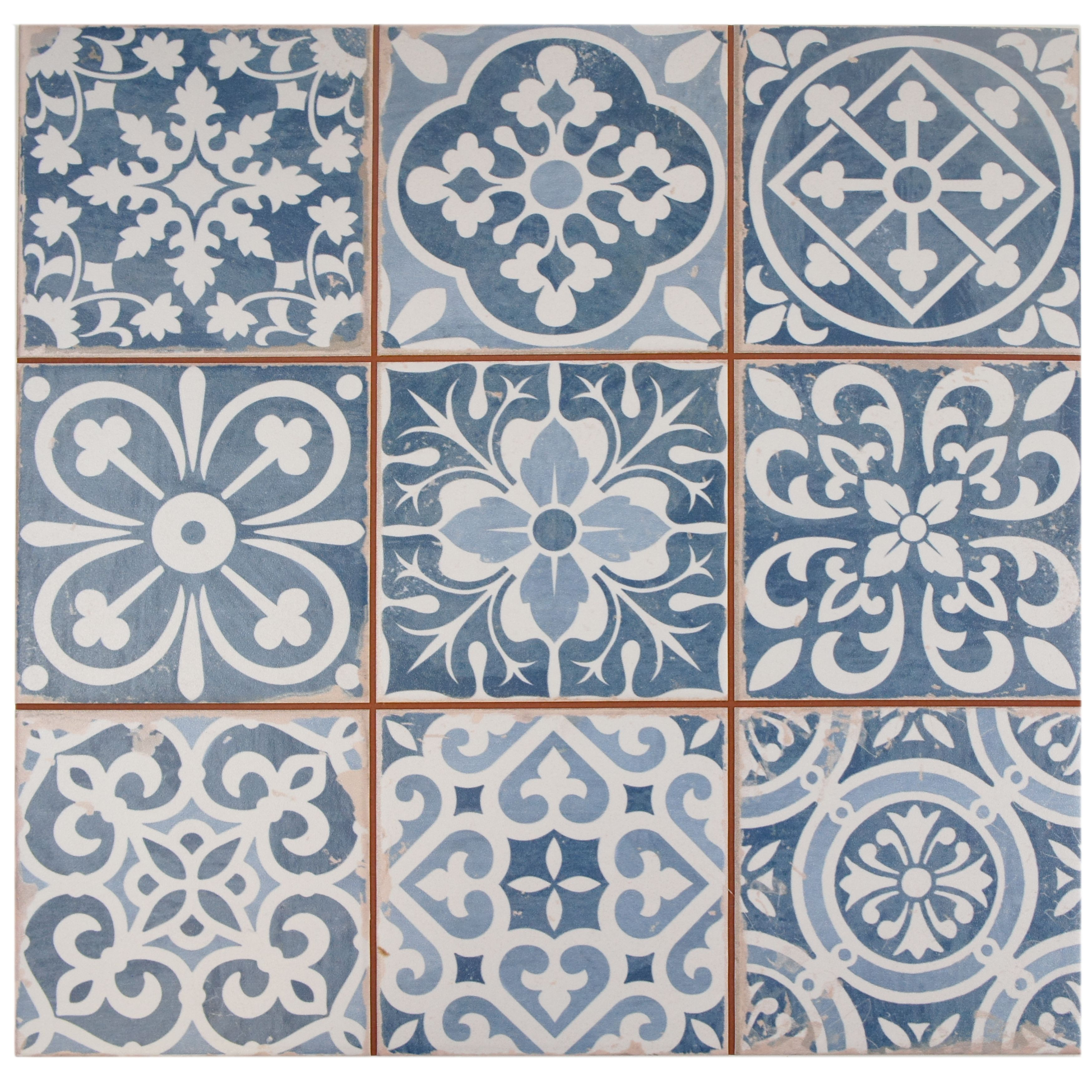 The SomerTile 13x13inch Faventia Azul Ceramic Floor and